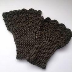 Crochet Boot Cuffs Chocolate Brown Leg Warmers Lace Boot Socks Handmade in USA