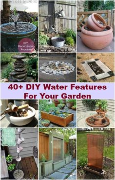 Are you looking for creative ideas to decorate your garden? Why not try adding a water feature and enjoy the soothing sound of water movement all year round? Water features in the garden are beautiful (Diy Garden Fountain) Small Water Gardens, Container Water Gardens, Diy Water Fountain, Garden Water Fountains, Diy Water Feature, Backyard Water Feature, Diy Terrasse, Water Features In The Garden, Garden Design