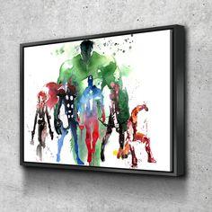 Marvel Super Heroes Avengers - Canvas Wall Art Framed Print Poster - Various Sizes - 1 Panel 48x36 / Floating Frame