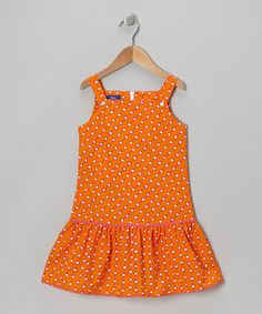 Take a look at this Orange & White Polka Dot Jumper - Toddler & Girls by Cotton Blu & Cotton Pink on #zulily today!