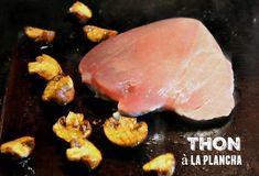 Thon à la plancha champignons et sauce moutarde. . La recette par kaderick.