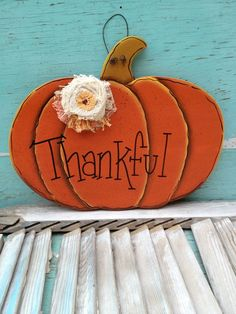 decorative door hangers | Wooden Pumpkin Thankful Sign Autumn Home Decor Fall Door Hanger