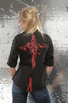 Black & Red Zipper Snap Shirt - Cruel Girl
