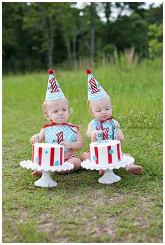 Boys 1st Birthday Party Hat and Bib for TWINS - Darling aqua blue dots and red and white stripes - Michael Miller ocean dots. $86.00, via Etsy.