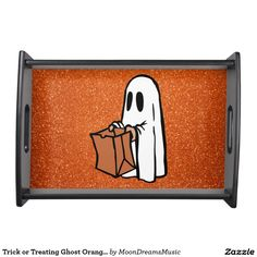 #TrickOrTreatingGhost #OrangeFauxGlitter #SmallBlackServingTray by #MoonDreamsMusic #BlackWood