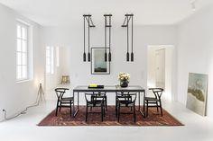 germany 2014 - apartment - refurbishment - marble - komdo.co - clemens tremmel - .PSLAB - zementfabrik - cement - carpet - dining table - living room - lights - white