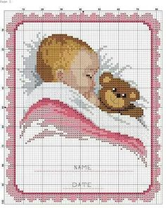Lovely idea for a new baby girl or, with the pink detail changed to blue, a new baby boy Baby Cross Stitch Patterns, Cross Stitch Love, Cross Stitch Charts, Cross Stitch Designs, Baby Patterns, Cross Stitching, Cross Stitch Embroidery, Crochet Cross, C2c Crochet