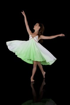 Lyrical Dance Costumes | ... Sprite Lyrical Dress Cascade hemline. Lime White Gold Dance Costumes