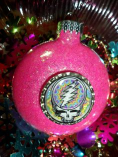 GRATEFUL DEAD Steal Your Face Glass NeON PiNK by ElectricLadyland1, $9.99