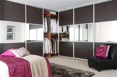 Dark wood and silver mirror http://www.sliderobes.com/sliding-wardrobe/category/Bedrooms/Classic-Collection/dark-wood-and-silver-mirror