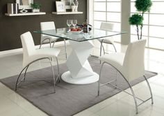 A.M.B. Furniture & Design :: Dining room furniture :: Counter Height dining sets :: 5 Pc. Halawa III collection contemporary style white finish counter height pedestal and square glass top dining table set