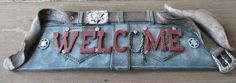 For sale in our Ebay store...click on the photo!  Welcome Cowboy Hat Barn Ranch Western Plaque Sign Hanging Belt Denim Jeans NWT #cowboy #cowgirl #sheriff #western #rustic #country #barn #ranch #belt #hat