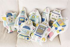 Kawaii big robot illusttion cut cotton fabric panel by Harvard5f on Etsy