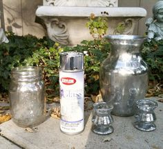 diy mercury glass: spray the inside and outside of any glass object with Krylon Looking Glass Spray, then spray it with a mixture of half water, half vinegar. Let it sit for a minute before you blot it with a paper towel. Viola! Mercury glass!!