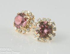 Crystal earrings pink crystal earrings wedding by EndoraJewellery