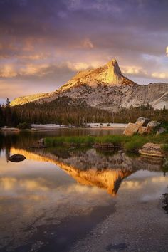 Mountains Photography Landscape - Lower Cathedral Lake and Peak