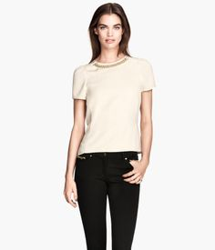Product Detail | H&M US0 short sleeved blouse with decorative metal chain