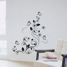 Description: Size: S: x H x ) M: x H ( x ) L: x H ( x 182 ) Category: Flowers Wall Stickers Material: Vinyl Wall Stickers Room : bedroom, living room, Kids Room Color : Black Includes : Flowers, Butterfly Wall Stickers Room, Flower Wall Stickers, Animal Wall Decals, Flower Sketches, Cheap Flowers, Room Colors, Kids Room, Butterfly, Living Room