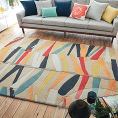 Scion Tetra Satsuma 24205 hand-tufted rugs made with Wool. Ikea, Hand Tufted Rugs, Rustic Wall Decor, Scion, Modern Room, Modern Living, Round Rugs, Contemporary Rugs, Colorful Rugs