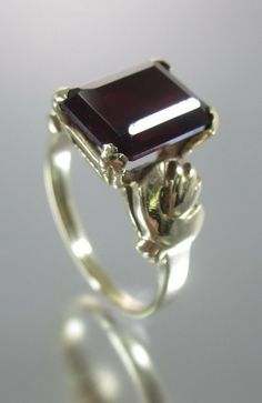 DESIGNER 14 Karat Yellow Gold Ruby Encrusted Solitaire Ring Sz 6 at www.ShopLindasStuff.com