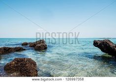 Sea shore with clear water and rocks, seascape Illustration, Sea, Water, Outdoor, Image, Pictures, Gripe Water, Outdoors, The Ocean