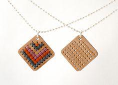 Modern Cross Stitch Jewelry Kit Bamboo by RedGateStitchery
