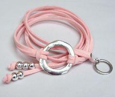 Boho Infinity zilveren cirkel Triple Wrap armband  Faux Suede