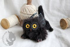 Black domestic gryphon kittenchick by FuegoFatuo on Etsy, €150.00