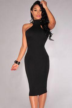 Elegant Mock Neck Racer Style Black Midi Dress #Dresses #Chic #Fashion