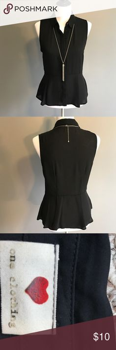 Semi sheer black fitted sleeveless top One Clothing brand, juniors M, semi sheer black? Fitted to waist and flair. Hidden front buttons. Very body con and flattering.  Shoulder to hem 23.5in, waist 14in across, shoulder to waist 16.5in, 17in across. one clothing Tops Blouses