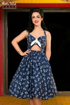 Perfect dress for a day of sailing or a brunch on the water! ... Pinup Couture - Naval Anchor Print - 4/6/2015