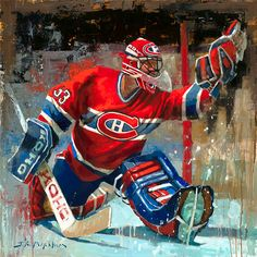 Painting of Patrick Roy of the Montreal Canadiens. Quality canvas print from original oil painting by Jerry Markham. Available in multiple sizes, framed or unframed.  jrmhockeyart.com   Montreal Canadiens Wall Art | Montreal Canadiens Gift Hockey Painting | Hockey Art | Hockey Print