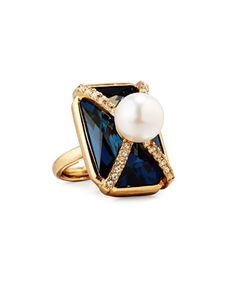 Y36Z8 Oscar de la Renta Pearly Crystal Octagon Statement Ring, Dark Blue