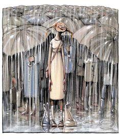 63 Trendy dancing in the rain painting umbrellas rainy days Rain Umbrella, Under My Umbrella, Walking In The Rain, Singing In The Rain, Rainy Night, Rainy Days, Rainy Mood, Figurative Kunst, Arte Black
