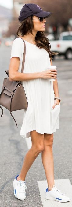 Short sleeve swing dress + sneakers.