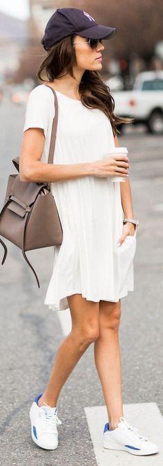 Short sleeve swing dress + sneakers.