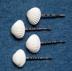 Seashell hair pins - Pinzas para el cabello de conchas marinas