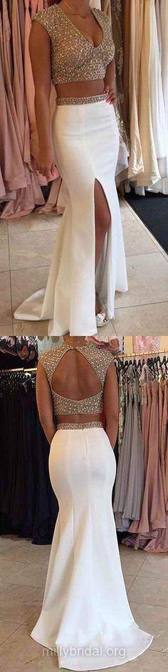 Two Piece Prom Dresses White, Mermaid Prom Dresses 2018, Long Prom Dresses V-neck, Sexy Prom Dresses For Teens