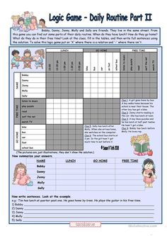 Logic game (20th) - Daily routine Part II *** for elementary ss *** with key *** fully editable * reuploaded