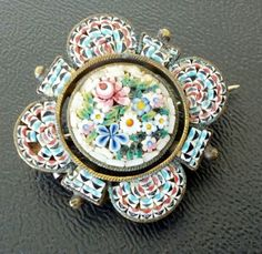 Signed EAP Vintage Brooch Pin Scatter Micro Mosaic Flower Antique Old | eBay