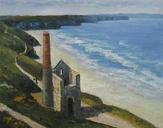 ENGLAND CORNWALL OLD CORNISH TIN MINE WHEAL COATES St. Agnes ARTIST OIL PAINTING | eBay
