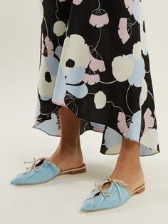 Malone Souliers Vilvin moire double-bow backless loafers
