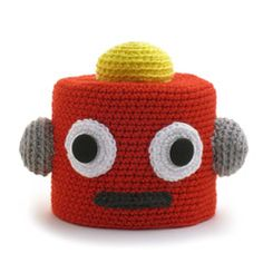 """RODNEY ROBOT"" CROCHETED TOILET PAPER COVER ♦ Pattern in ""Amigurumi Toilet Paper Covers"" by Linda Wright. http://amazon.com/dp/0980092361/"