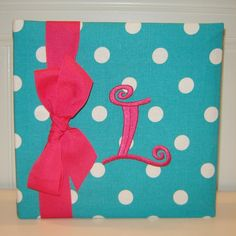 Aqua and white dot with Hot Pink Accents by doodlebugsga on Etsy Purchase at www.doodlebugsga.etsy.com