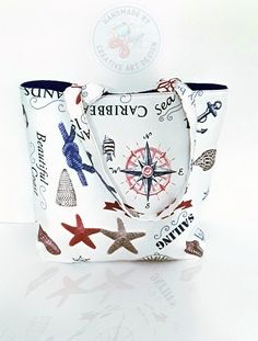 Schultertaschen - KCA 40 Shopper Tasche maritim Anker Windrose - ein Designerstück von CreativeArtDesign bei DaWanda