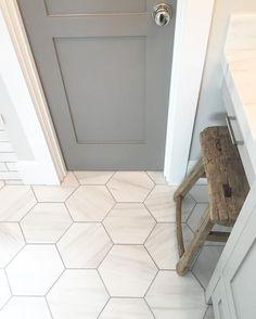 Pin By Cally Burks On Remodel Grey Bathrooms Bathroom Floor Tiles Bathroom Floor Tiles, Basement Bathroom, Bathroom Cabinets, Bathroom Grey, Master Bathroom, Room Tiles, Bathroom Bin, White Bathrooms, Master Baths