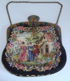 ANTIQUE-PETIT-POINT-TAPESTRY-PURSE-JEWELLED-CABUCHON-FRAME-c-1920s-SUPERB