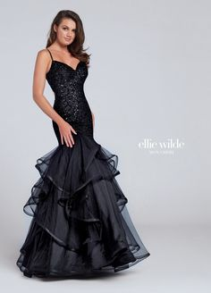 a5610331e24 Black Sleeveless Tulle Sequin Trumpet Gown - EW117101. Prom Dresses ...