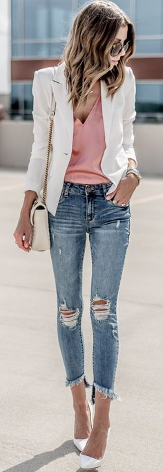 #summer #outfits This Look Is On The Blog Today This Blazer Is Such A Classic Piece ($75) + Y'all This Denim... $58 And Such A Good Fit!