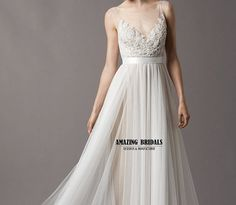 Simple feminine tulle lace Wedding dress, Wedding gown,beach wedding dress, beach wedding gown on Etsy, $256.00